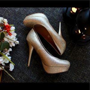 Sparkly Gold Platform Heels